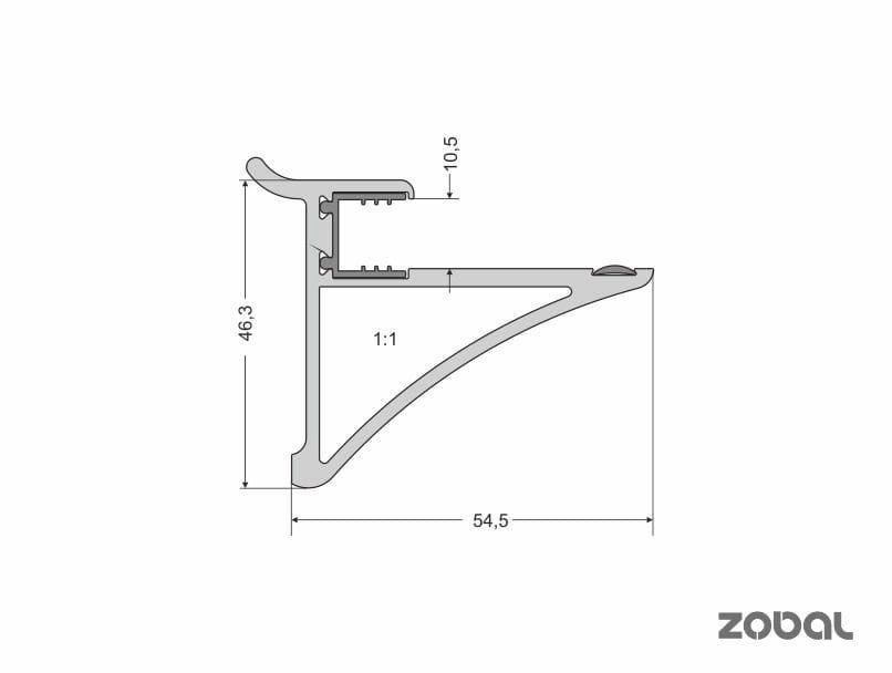 Uchwyt Półki Szklanej Szkło 10 Mm Dwa Kolory Aluminium Lub Czarny